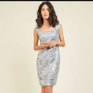 NWT Modcloth Marina Silver Sequin Dress - 12
